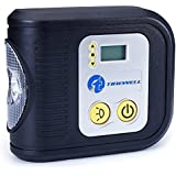 TIREWELL 12V Digital Tyre Inflator - Portable Air Compressor with LED Light and 3 Different Adapters, Auto Cutoff