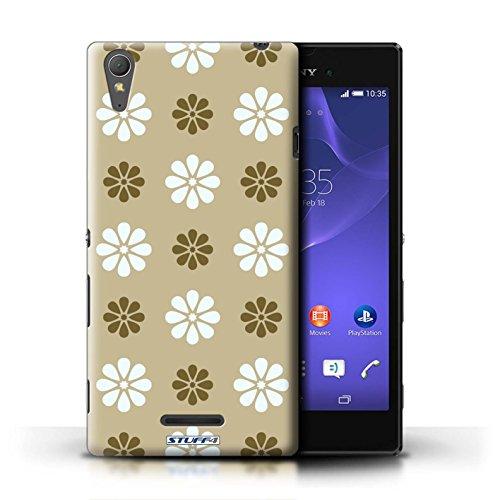 Kobalt® Imprimé Etui / Coque pour Sony Xperia T3 / Violet conception / Série Motif avec pétales Beige