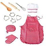 11PCS Kinder Kochen und Backen Set Chef Set für Kinder Küche Kochen Play Set mit Schürze für Mädchen, Chef Hat, und Kochen Mitt & Utensilien für Kleinkinder Karriere Rolle spielen Kinder Pretend Play