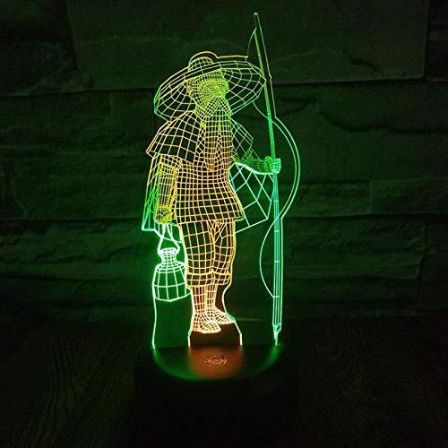3D Illusion Lampe Fischer Führte Buntes Nachtlicht 3D Kreatives Sichtnoten-Aufladungsatmosphären-Geschenk 3D Lampen-Powerbank-Buchstabe-Licht