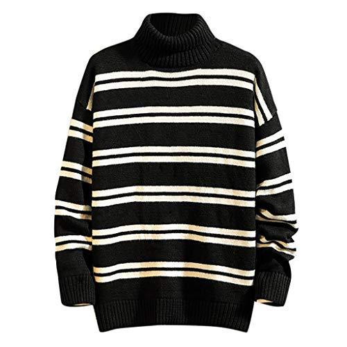 Herren High Neck Sweater Stripe Einfach Solide Slim Fit Hedging Rollkragen Strick Langarm Pullover Top(3XL,Schwarz) -