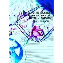 Cahier de Musique 96 pages 21x 29,7 cm Seyes & Portees: Interieur Seyes Grands Carreaux et Portees de Musique - Couverture Brillante Design 7