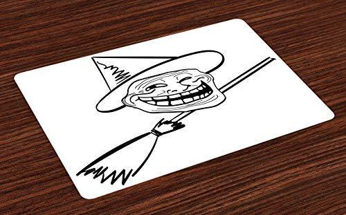 ABAKUHAUS Humor Platzmatten, Halloween Geist Themed Hexe Guy Meme LOL Freude Spooky Avatar Kunstvolle Bild drucken, Tiscjdeco aus Farbfesten Stoff für das Esszimmer und Küch, Weiß und Schwarz