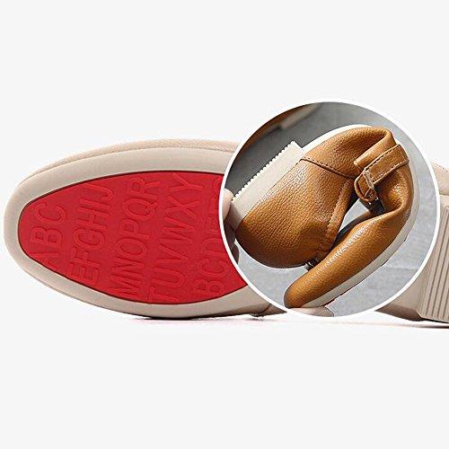Haizhen Cheville Bottes Femmes Pu Eté Automne Confort Plat Talon Plat Bout Rond Pour Casual Et Carrière Bureau Pour 18-40 Ans (couleur: Beige, Taille: Eu36 / Uk4 / Cn36) Jaune