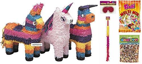 Pinata-Komplett-Spar-Set-Fiesta-Einhorn-Stier-oder-Esel-mit-Zubehr-Schlger-Maske-Sigkeiten-und-Glanzkonfetti-fr-Kindergeburtstage-alles-dabei