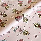 Hans-Textil-Shop Stoff Meterware Prinzessinen auf Rosa,