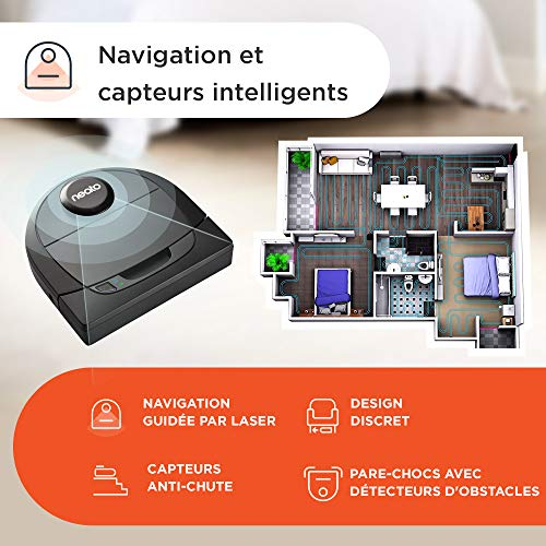 51Wh4EGqrrL [Bon Plan Neato] Neato Robotics D402 Connected - Compatible avec Alexa - Robot aspirateur avec station de charge, Wi-Fi & App