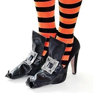 Black Witches Shoe Covers & Silver Buckle Lepricorn Halloween Witch Fancy Dress (accesorio de disfraz)