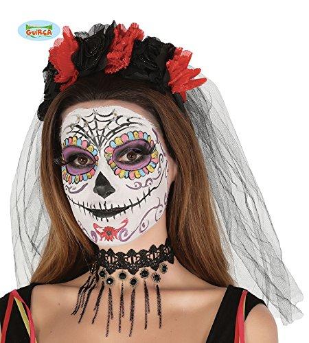 Guirca Schwarzer Horror Braut Schleier Brautschleier mit Rosen Zum Halloween Kostüm Rot (Halloween Schleier Braut Schwarz)