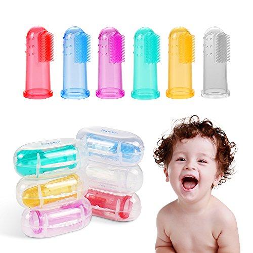 Baby zahnbürste, Tinabless 6pcs BunteWeiche Baby fingerzahnbürste massage inkl. Aufbewahrungsbox für Baby fingerling zahnpflege - 6 Stück