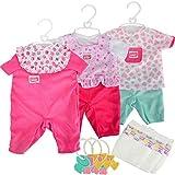 #11 Puppenkleidung für New Born Baby Puppen 38-43 cm 3 Stück - 3X 38-43cm Puppe Kleidung Puppenzubehör Kleiderset