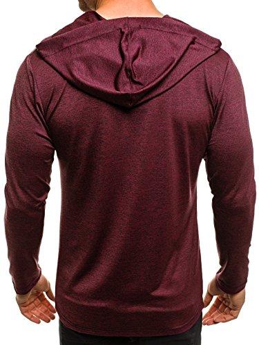 OZONEE Herren T-Shirt mit Motiv Kurzarm Rundhals Figurbetont BREEZY 459 Weinrot_MAD-X1289B