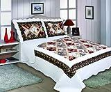 Diseño acolchado Patchwork colchas y Seperate Shams–Lucy–negro y pinks- Floral, algodón mixto, negro, DOUBLE BED 260cm x 240cm