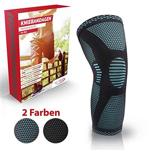 Vigo Sports® Anti Rutsch Kniebandage für Sport, Schmerzlinderung & Genesung - Optimale Knieschützer für Männer & Damen - Elastische Knieschoner für Volleyball, laufen & joggen (S)