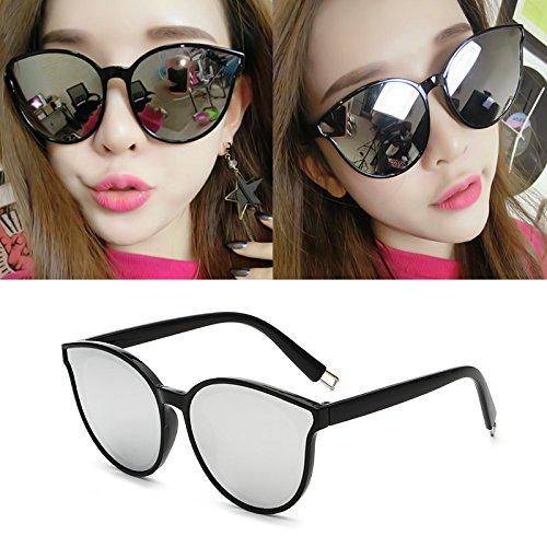 sonnenbrille, popstars, brille, neue runde sonnenbrille, meine damen, elegante runden gesicht, koreanische retro - augen,black box weiße quecksilber (stoff)