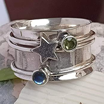 Peridot, Labradorite Spinner Band Rings, 925 Sterling Silver Spinner Band Rings for Women, Gift Ring for Mother's Day