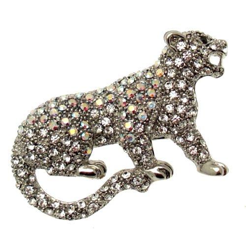 Acosta-clear& cristallo swarovski aurora boreale, motivo: pantera-spilla a forma di gatto, in confezione regalo