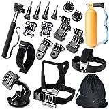Togetherone 20 en 1 Kit d'accessoires pour Gopro Hero Session Black Silver 5 4 3+ 3 2 1, SJCAM SJ4000 SJ5000 SJ6000, TecTecTec, VTIN, Topop, APEMAN, VicTsing, Campark Caméra Sport Accessoires Trousse