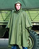 US Waterproof Ripstop Hooded Nylon Festival Poncho Olive Green
