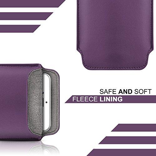 iPhone 5S Hülle Rot Sleeve [OneFlow Slide Cover] Ultra-Slim Schutzhülle Dünn Handyhülle für iPhone 5/5S/SE Case Full Body Handytasche Kunst-Leder Tasche INDIGO-VIOLET