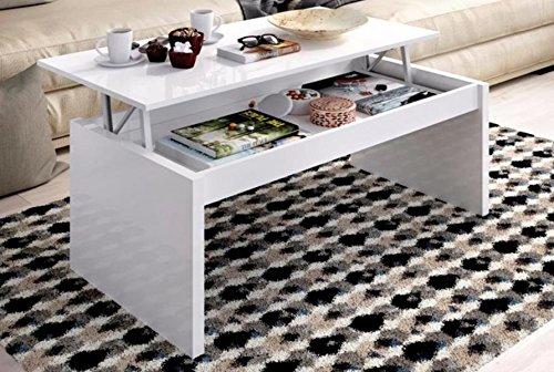 PEGANE Table Basse à Plateau relevable Coloris Blanc Brillant - Dim : 51 x 102 x 43 cm