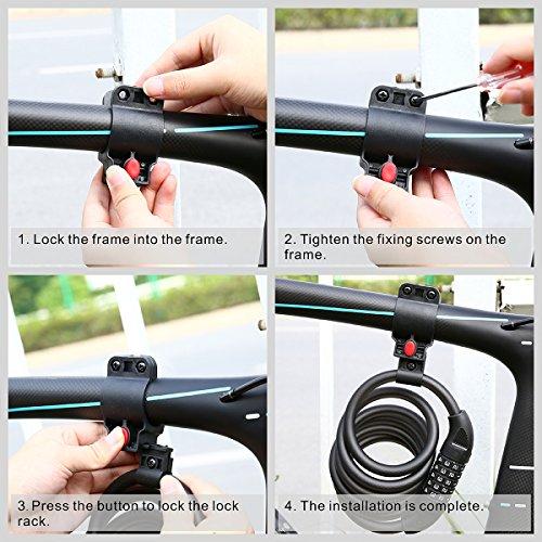 Fahrradschloss, Blusmart Fahrrad Sicherheitsschloss mit 5 stelligem intelligentem Code und Fahrradhalterung, 1,8 m lang - 8