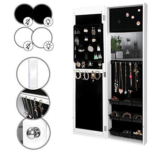 Armadietto portagioie - 36 x 120 x 9,5 cm, da appendere a porta/parete, mdf, bianco/nero, con o senza luce led - specchiera, armadio per gioielli con specchio (bianco, senza led)