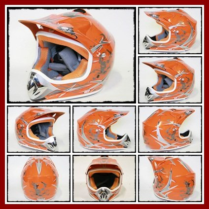 Helm Kinderhelm Motorradhelm Crosshelm Motocrosshelm Sport Orange S -