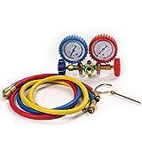 Atoplee Diagnose- und Service-Gauge Set für Kältemittel R12,R22,R134a, Manometer-Gauge-Set, hoch/tief HVAC AC Kälteprüfung, 900mm Schlauchlänge