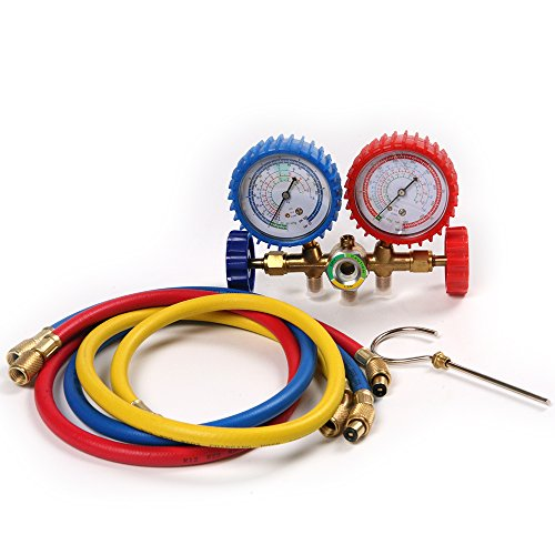 Atoplee Diagnose- und Service-Gauge Set für Kältemittel R12,R22,R134a, Manometer-Gauge-Set, hoch/tief HVAC AC Kälteprüfung, 900mm Schlauchlänge -