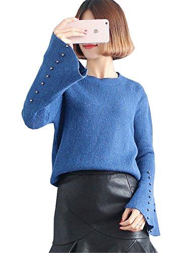 JOTHIN 2017 Donna Autunno Inverno larghi Ispessimento Basic Maglia Jumpsuit fasciante Elasticizzati Casual Eleganti Maglioni Girocollo Maniche a Tromba Caloroso Maglieria Blu