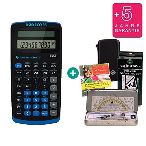 Texas Instruments Streberpaket: TI-30 Eco RS + Schutztasche + Lern-CD (auf Deutsch) + Geometrie-Set + Erweiterte Garantie - Ti30 Taschenrechner Wissenschaftlicher