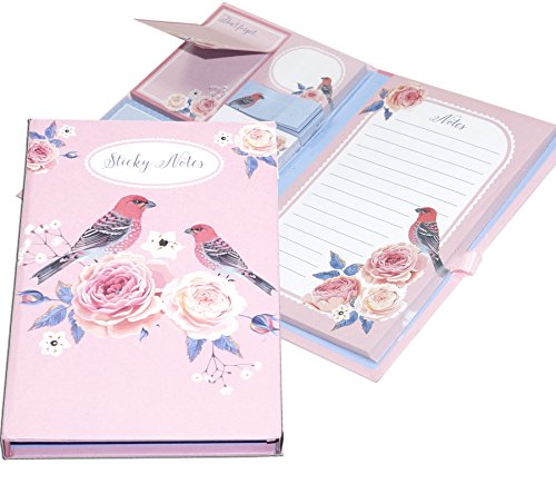 Self Page Memo Notebook Notepad with 5 Multi Size Sticky Notes & Page Marker Colored Index tabs with Pen Holder in Diary Style - Print May Very