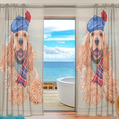 yibaihe Fenster Vorhänge, Gardinen Platten Fenster Behandlung Set Voile Drapes Tüll Vorhänge Cute Dog Wearing Hat 140W x 213 L cm 2Einsätze für Wohnzimmer Schlafzimmer Girl 's Room -
