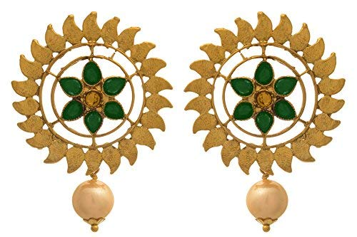 1605d85538 JFL - Traditional Ethnic One Gram Gold Plated Diamoond & Pearl With Floral Designer  Earring For