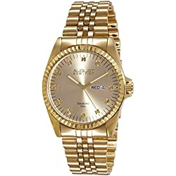 August Steiner Men's Luxury Diamond Watch with Day and Date Display and Gold-Tone Dial, and Bracelet AS8047YG