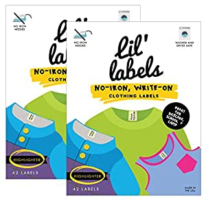 """Clothing Labels - No-Iron, Washer Safe (""""Highlighter"""", Set of 2)"""