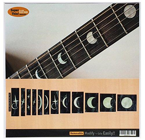 Pegatinas adhesivas para guitarra y bajo con incrustaciones de diapasón, diseño de fases de luna