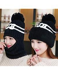 JJHR bonnet Bonnet en Tricot Écharpe Bonnet Deux Pièces Chapeaux d hiver  pour Les Femmes Bonnet d hiver Chapeau Cagoule avec… 43f70276ea4