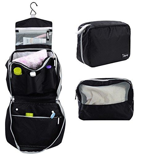 2 in 1 borsa da toilette viaggio trucco Custodia XXL Borsa per cosmetici con gancio pieghevole + 20 ml atomizzatore ( regalo ) (Nero)