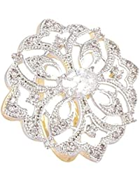 SKN Silver And Golden American Diamond Cocktail Party Ring For Women & Girls (SKN-1435A)