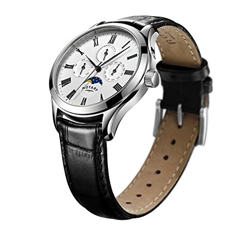 Rotary Men's Quartz Watch with White Dial Chronograph Display and Black Leather Strap GS00650/01