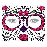 Sarplle Adesivo per Il Viso Tatuaggio temporaneo Scheletro Tatuaggio Rosa Adesivo Halloween Deco per Natale, Masquerade, Bacchetta