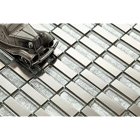 10cm x 10cm modello. Vetro mosaico in acciaio inox e piastrelle motivo in argento (mt0103Muster)