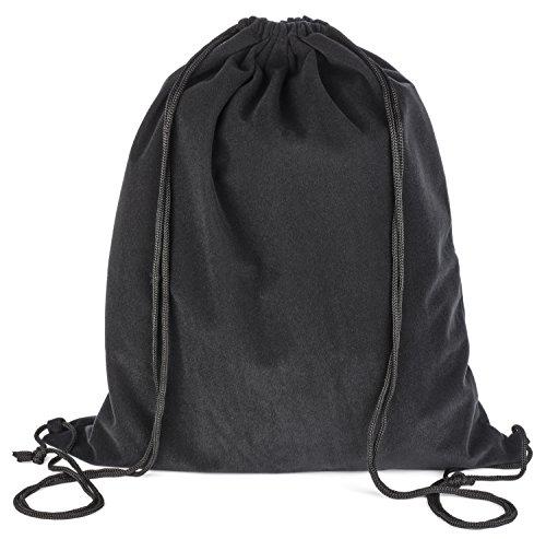 Borsa regalo Pardao lusso in velluto - 43 x 50 cm - Zaino coulisse grande nero (Nero)