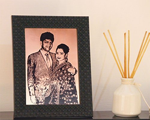 Delhi Arts Personalized Photo Engraving On Copper Metal -Hand Worked On Copper Metal- Its Not A Print, Its Engraving On Metal- Size- 6.5 X 8.5 Inches