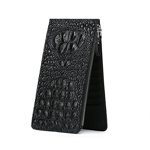 YILUQI Krokodil-Muster Geldbeutel-ECHT LEDER Kleingeldfach Kreditkartenetui dünne Schwarz Geldbörse für Herren mir Geschenkbox 20x10x1,5(B x H x T) (Krokodil-muster-leder)