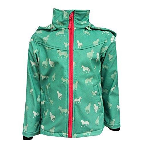 Outburst - Mädchen Softshelljacke Regenjacke mit Kapuze Pferde-Motiv 10.000 mm Wassersäule, Grün...
