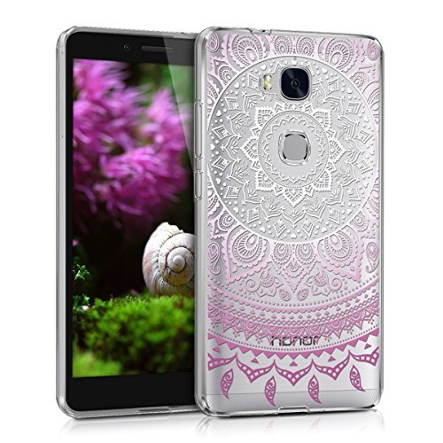 kwmobile Huawei Honor 5X / GR5 Hülle - Handyhülle für Huawei Honor 5X / GR5 - Handy Case in Violett Weiß Transparent