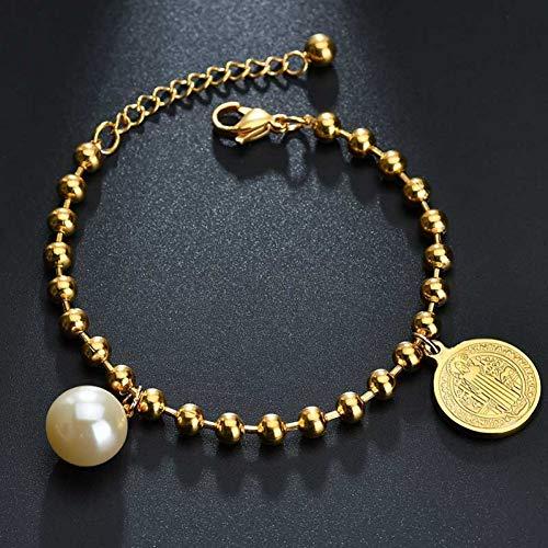 SBKJLPulsera Oro Guadalupe Virgen María Medalla Colgante Pulsera Perla De Imitación Ajuste Longitud Pulseras para Mujer Amuleto Joyería, Jesús